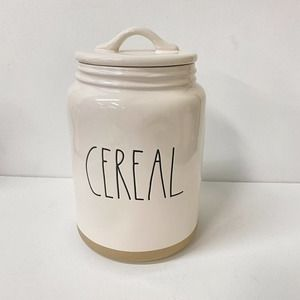 Rae Dunn Cereal Canister Tan Raw Ceramic Bottom